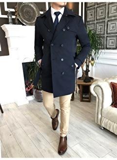 Terzi Adem 3613 İtalyan Stil Slim Fit Mevsimlik Erkek Trençkot Mont Lacivert T4979